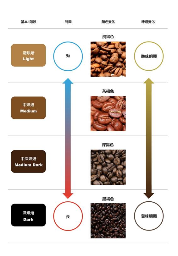 咖啡豆烘焙階段變化圖