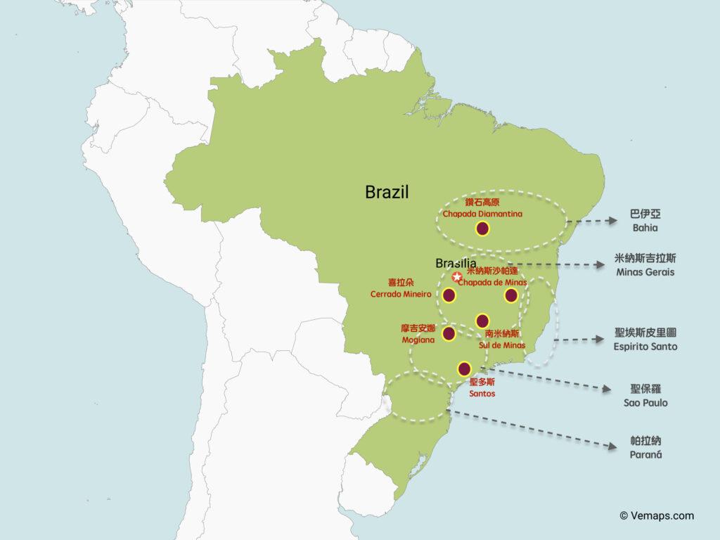 巴西咖啡產地地圖